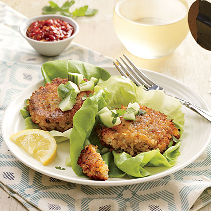 "Red Lentil Burgers RecipeThe classic version of these meatless burgers comes from Turkey, where cooked lentils are combined with fine bulgur to make the ""meat"" for the patties."