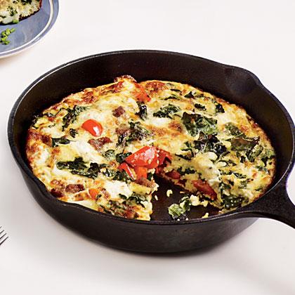 Sausage, Feta, and Kale Frittata Recipe | MyRecipes