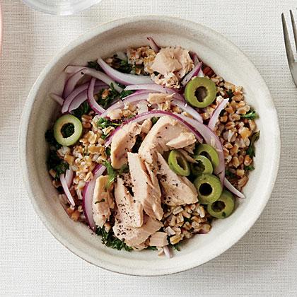 Tuna, Olive, and Wheat Berry Salad