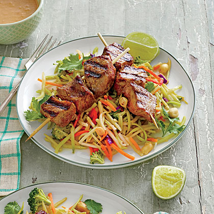 Beef Kabobs with Broccoli Slaw and Peanut Sauce