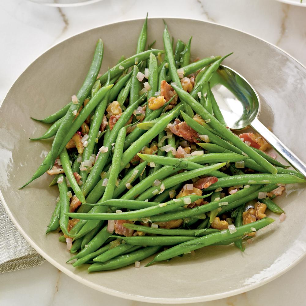 haricots verts with warm bacon vinaigrette recipe myrecipes. Black Bedroom Furniture Sets. Home Design Ideas