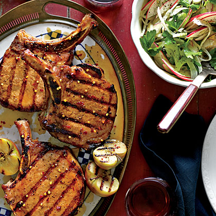 Grilled Pork Chops with Apple-Bourbon Glaze