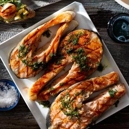 <p>Salmon Steaks with Horseradish Vinaigrette</p>