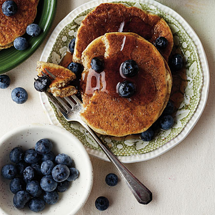Blueberry-Flax Buttermilk Pancakes Recipe — Dishmaps
