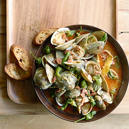 Steamed Clams with Chorizo and Padrón PeppersRecipe