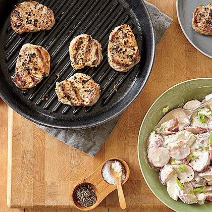 Grilled Pork Medallions with Spicy Potato Salad