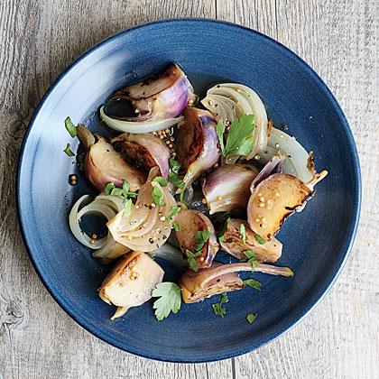 Honey-Glazed Kohlrabi with Onions and Herbs
