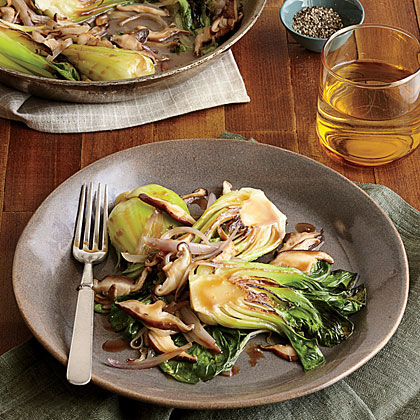 Mirin-Braised Bok Choy with Shiitake Mushrooms