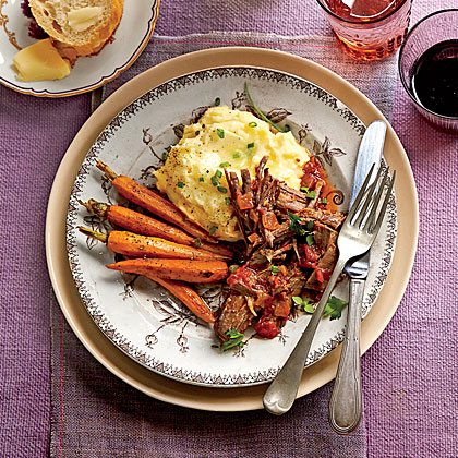 Zesty Pot Roast RecipeServe Parmesan Potatoes and roasted carrots Sunday night. Save and chop enough cooked carrots to yield 1/2 cup, and refrigerate for Monday's pies.