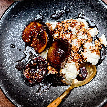 Figs in Mosto Cotto (Grape Syrup) with Fresh Ricotta