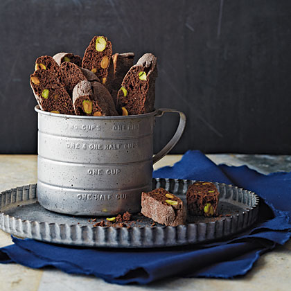 Mocha-Pistachio Biscotti RecipeThese biscotti can be kept for weeks in an airtight container, but are pretty enough to be wrapped in clear plastic with a ribbon and given as a gift. And did we mention they're gluten-free?