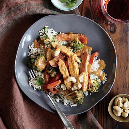 Chicken Stir-Fry with Peanut Sauce Recipe | MyRecipes