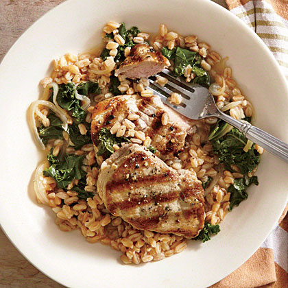 Grilled Pork Medallions with Farro and Escarole