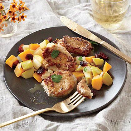 Pork Cutlets with Butternut Squash, Apple, and Cranberry Sauté