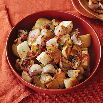 Bacon-Roasted Potatoes and Shallots