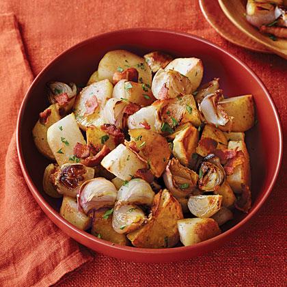 Bacon-Roasted Potatoes and Shallots