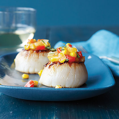 Butter-Seared Sea Scallops with Pan-Fried Sweet Corn Hash