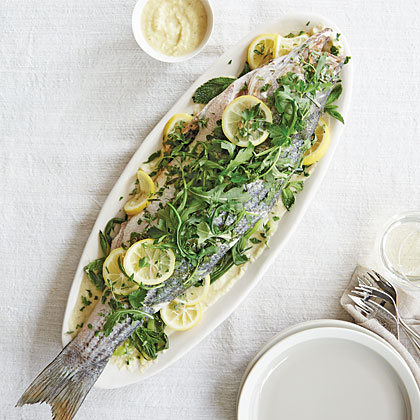 Herb-Steamed Whole Striped Bass With Fennel and Sweet Onion Soubise