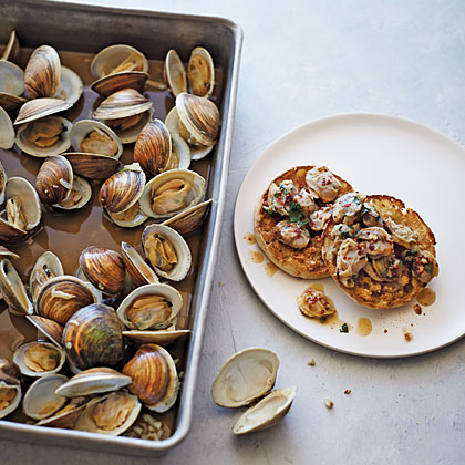 Oven-Roasted Garlic Clams with Charred English Muffins