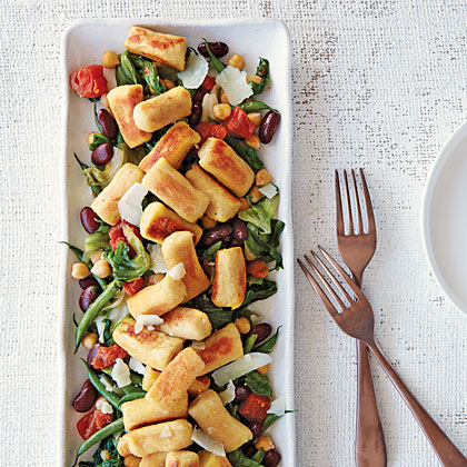Pan-Toasted Chickpea Gnocchi with Beans and Greens
