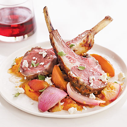 Roasted Lemon Lamb Rack with Peaches and Feta