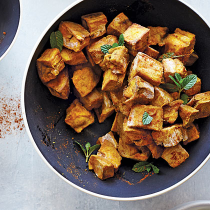 Spice-Roasted Eggplant with Garlic Yogurt and Harissa