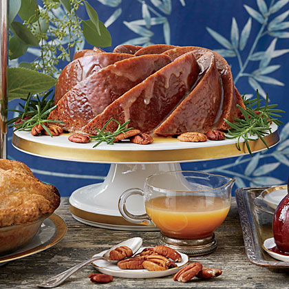 Substitute extra cream for rum in the sauce, if you like. For a thicker glaze, add the whole 1 1/3 cups powdered sugar, whisking constantly, as the glaze begins to cool in the pan. For a sheer, saucy glaze, use less powdered sugar.Pecan Spice Cake with Caramel-Rum Glaze                            Recipe