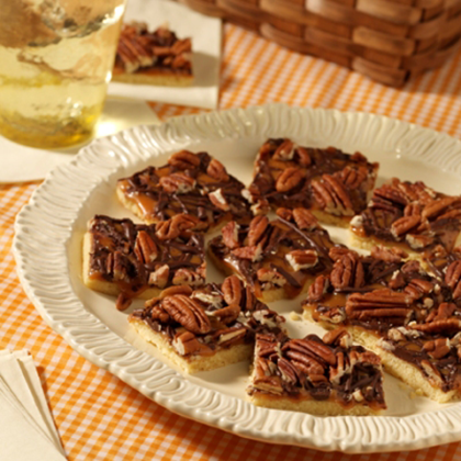 Caramel Pecan Shortbread Bars Recipe   MyRecipes.com