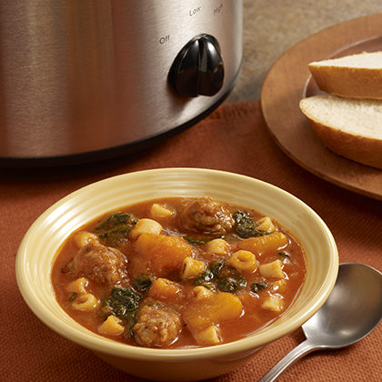 ... soup recipe full of butternut squash, Italian sausage, spinach and