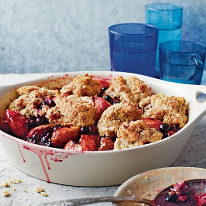 Blueberry-Peach Cobbler with Pecans