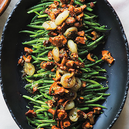 <p>Green Beans with Chanterelles and Cipollini</p>