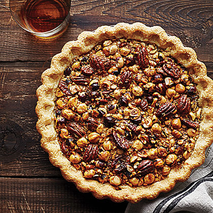 Hazelnut, Pecan, and Bourbon Pie