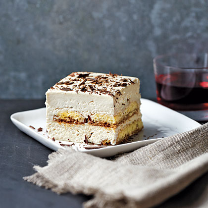 Tiramisu RecipeBlending mascarpone cheese with fat-free cream cheese is the key to this divine tiramisu. The richness and flavor of the mascarpone cheese still shines through but with less saturated fat and fewer calories than traditional recipes. We used gluten-free ladyfingers so that everyone could enjoy this decadent dessert.