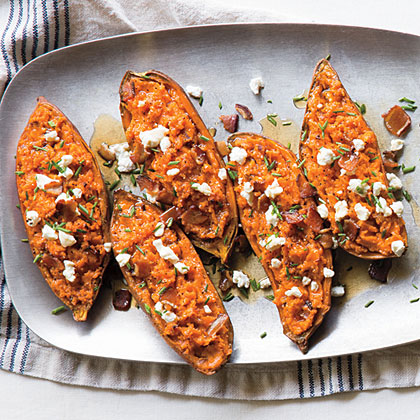 <p>Twice-Baked Sweet Potatoes with Bacon and Goat Cheese</p>