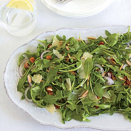 Arugula Salad with Spicy Roasted Chickpeas