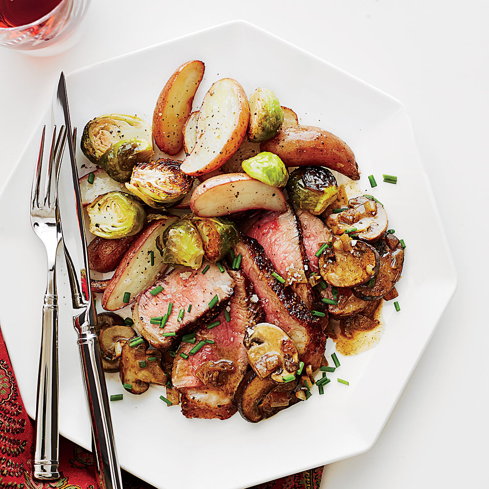 Steak Diane with Crispy Garlic Potatoes and Brussels Sprouts