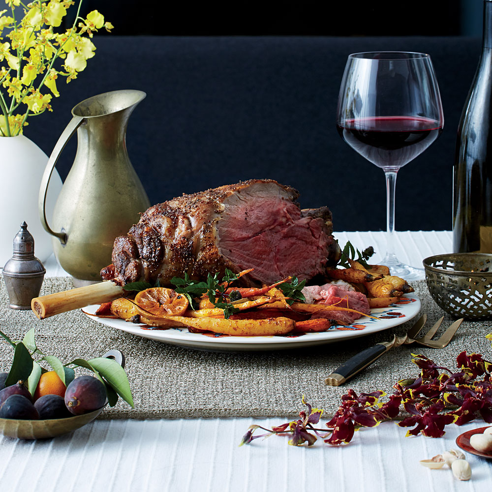 Leg of Lamb with Olive-Wine Sauce