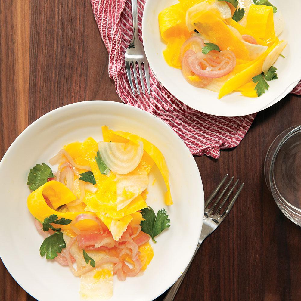 Beet Ribbon Salad with Lemon and Pickled Shallots