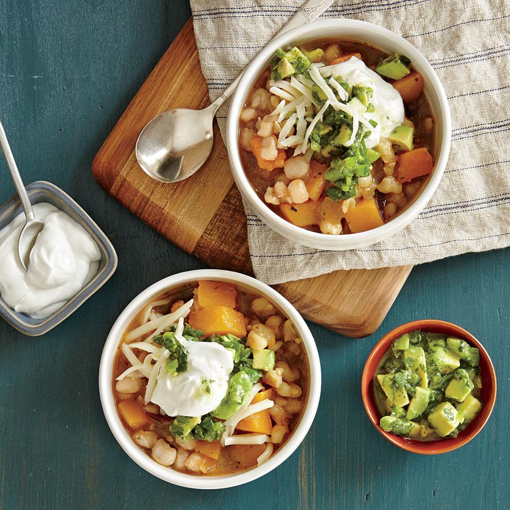 Winter Squash Stew with Cilantro-Avocado Salsa