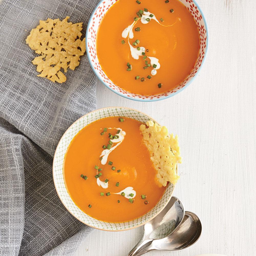 Carrot Soup with Parmesan Crisps