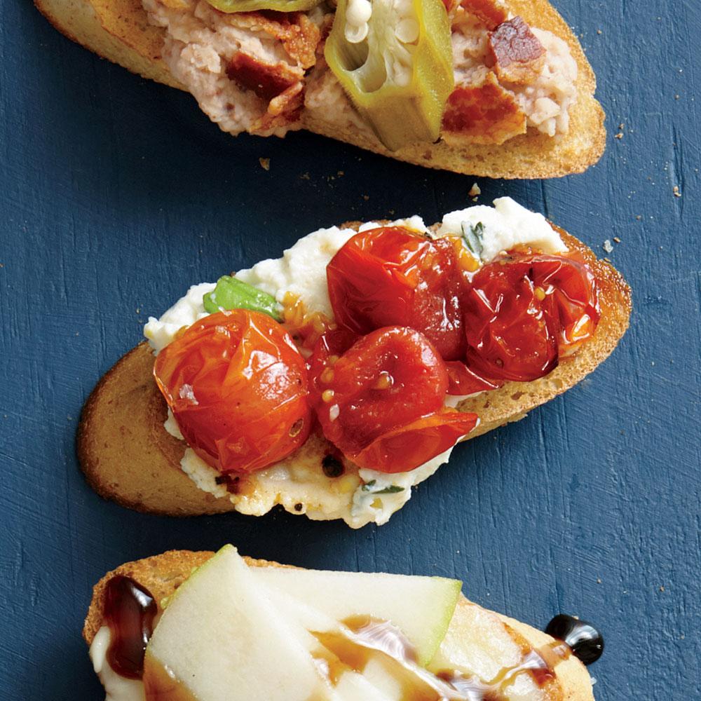 Lemony Herbed Ricotta and Roasted Tomato Bruschetta