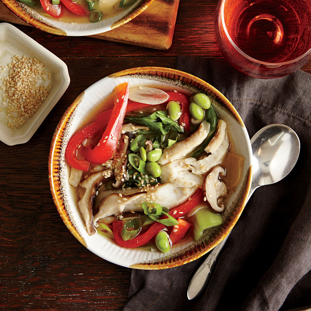 Flounder in Ginger-Sesame Broth with Edamame and Bok Choy