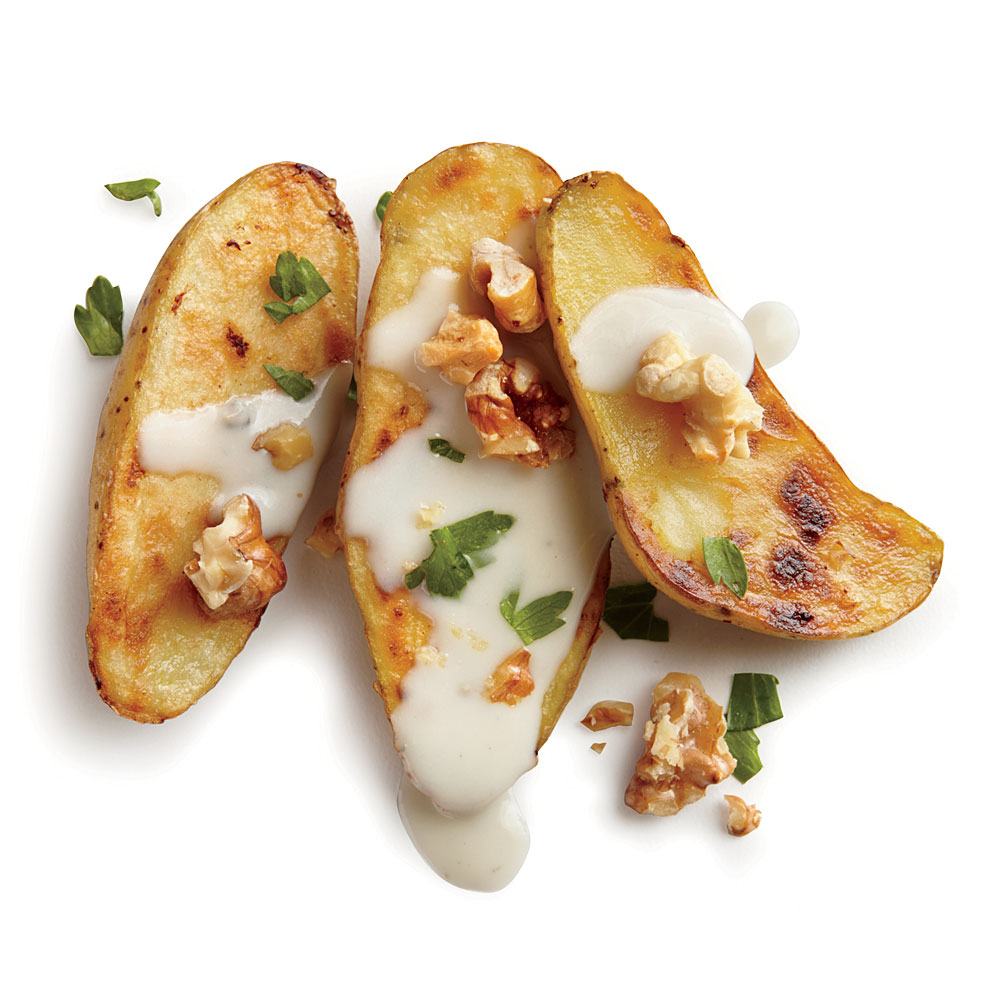 Pan-Seared Potatoes with Blue Cheese and Walnuts