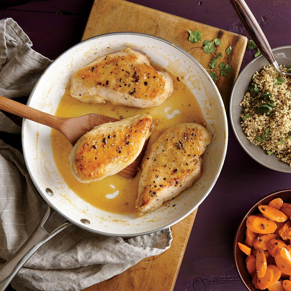 Chicken with Citrus Sauce and Lime-Cilantro Quinoa Recipe