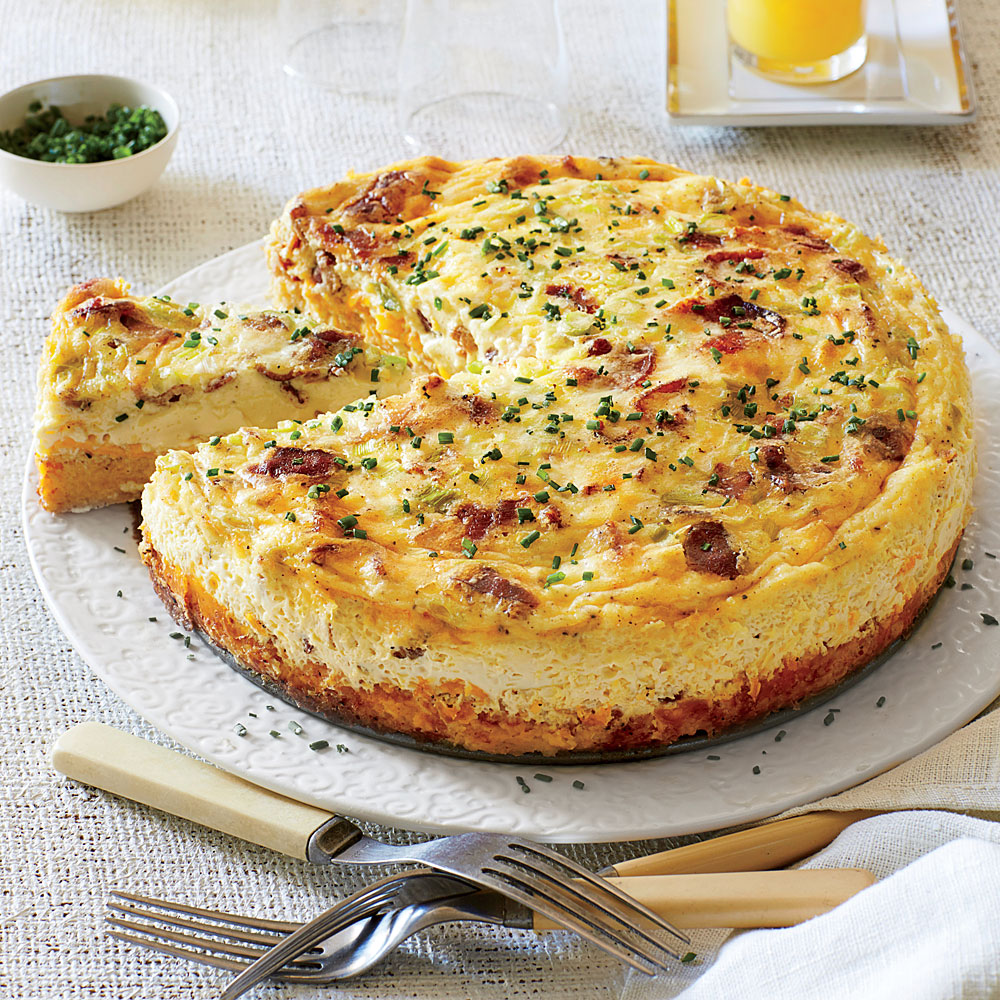 Bacon-and-Cheddar Grits Quiche Recipe | MyRecipes