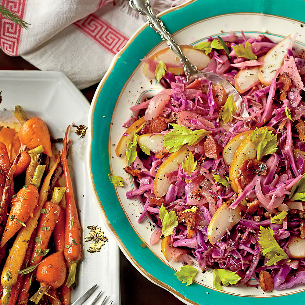 Braised Cabbage with Apple and Bacon