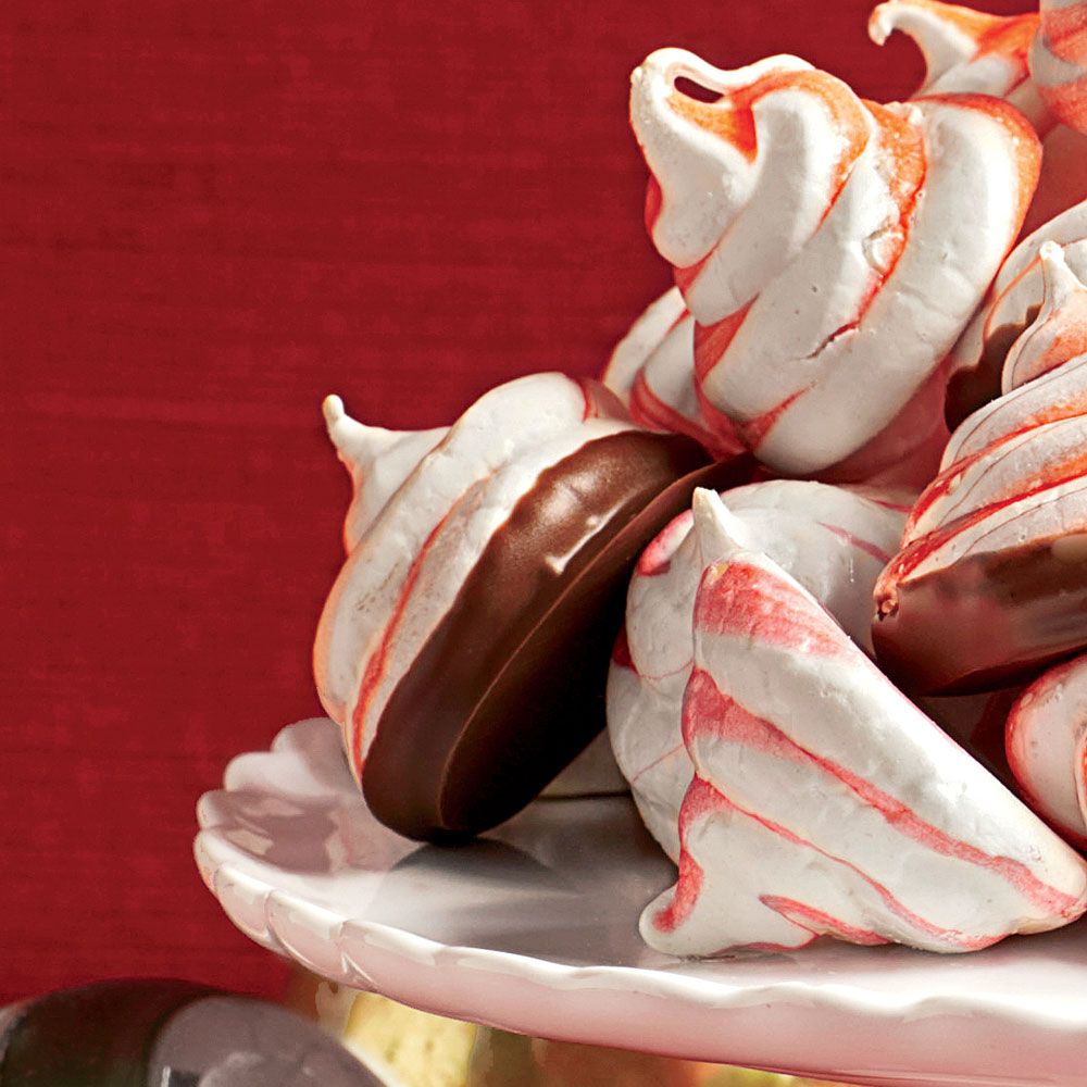 Chocolate-Dipped Peppermint Meringue Cookies