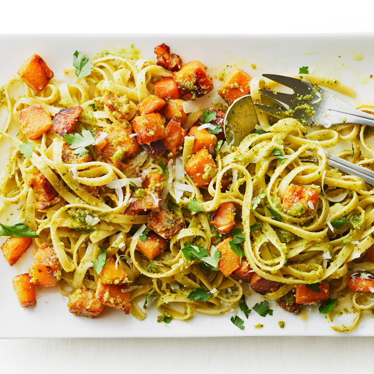 Fettuccine with Squash & Pistachio Pesto