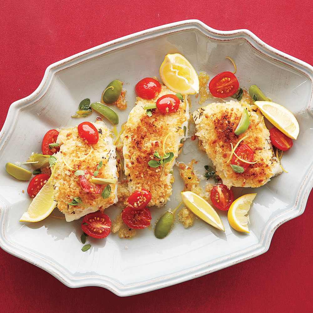 Roasted Cod with Mustard Bread Crumbs