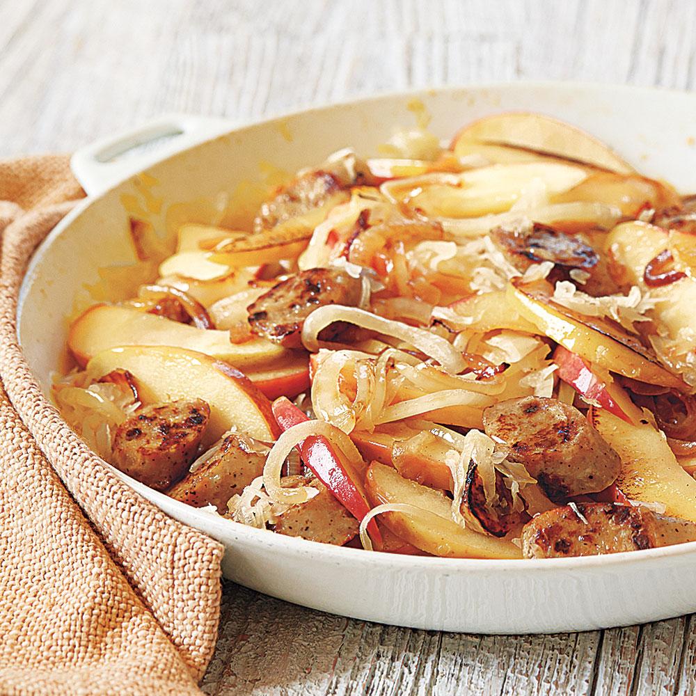 Sausage, Apple and Sauerkraut Skillet Supper